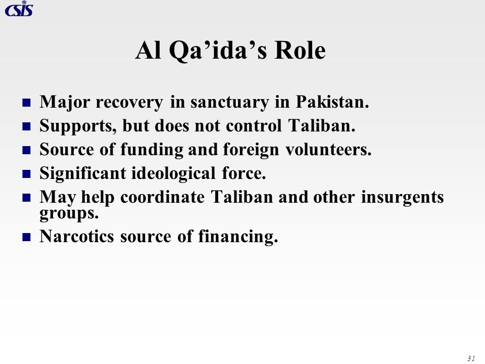 Al Qa'ida's Role Major recovery in sanctuary in Pakistan.