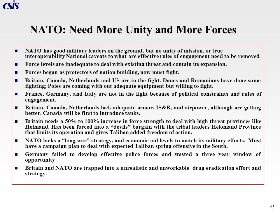 NATO: Need More Unity and More Forces