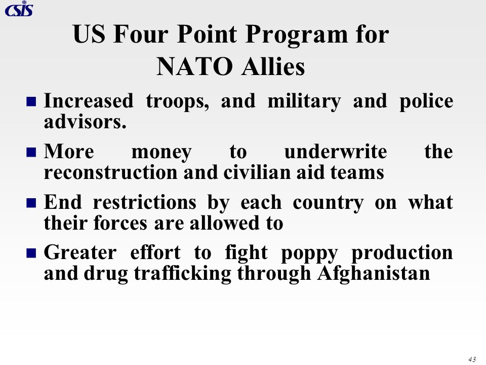 US Four Point Program for NATO Allies