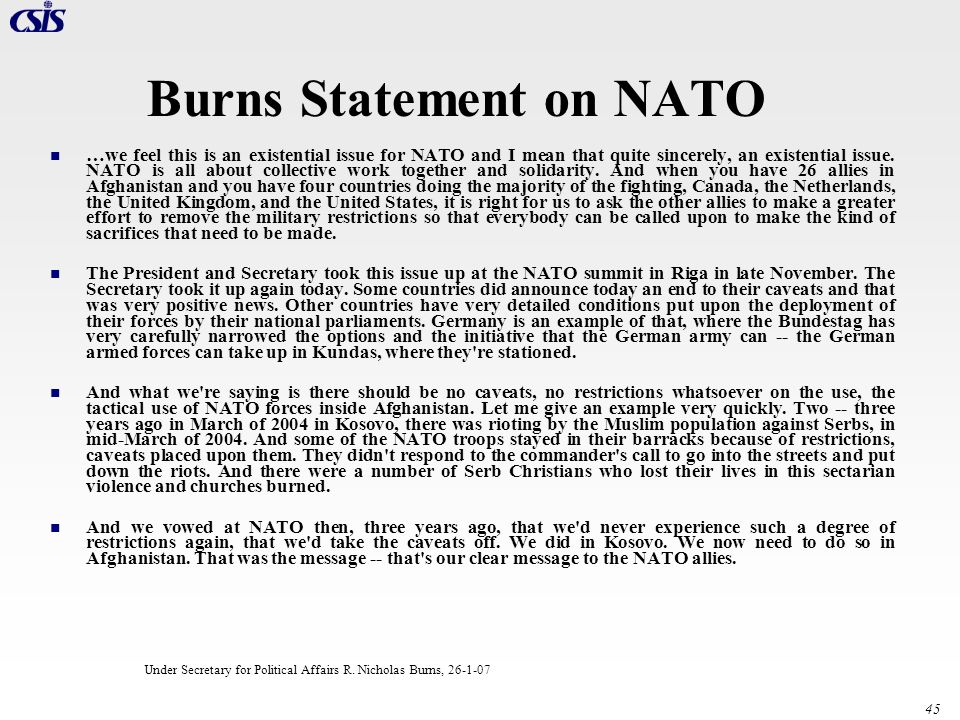 Burns Statement on NATO