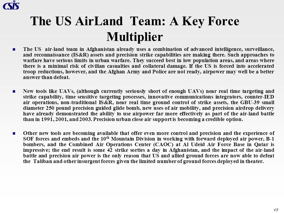 The US AirLand Team: A Key Force Multiplier