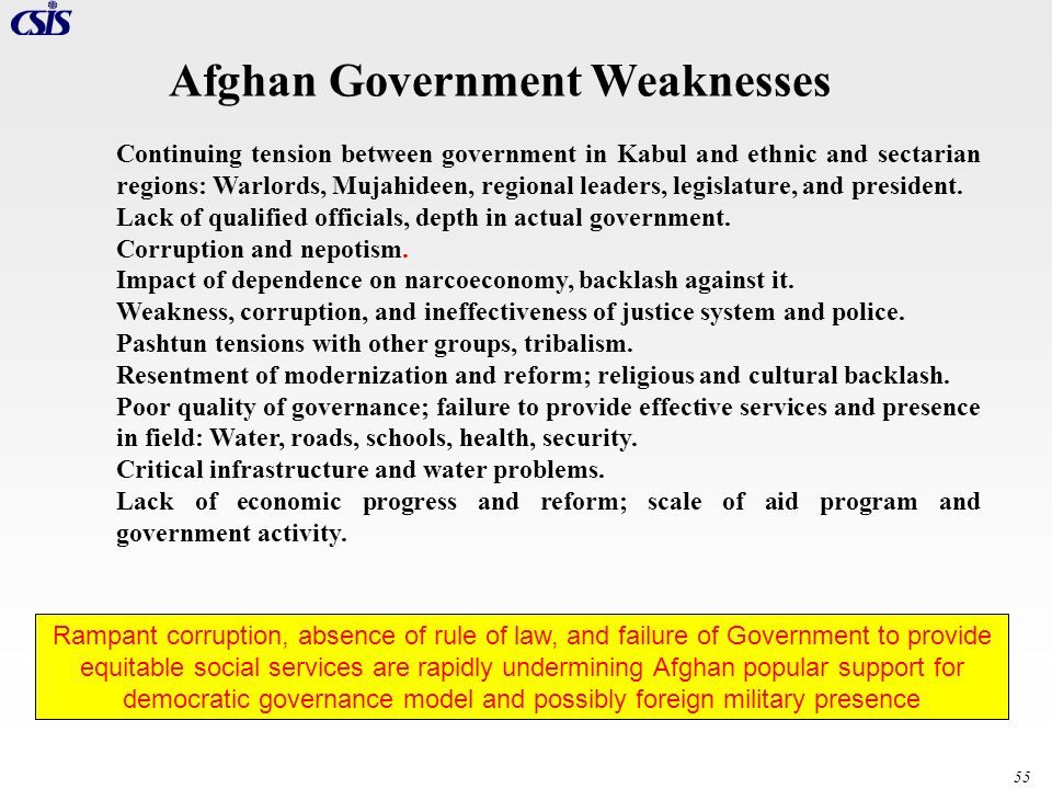Afghan Government Weaknesses