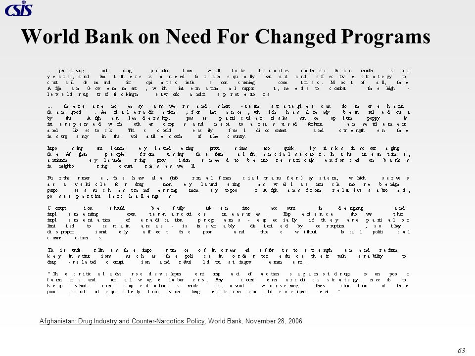 World Bank on Need For Changed Programs