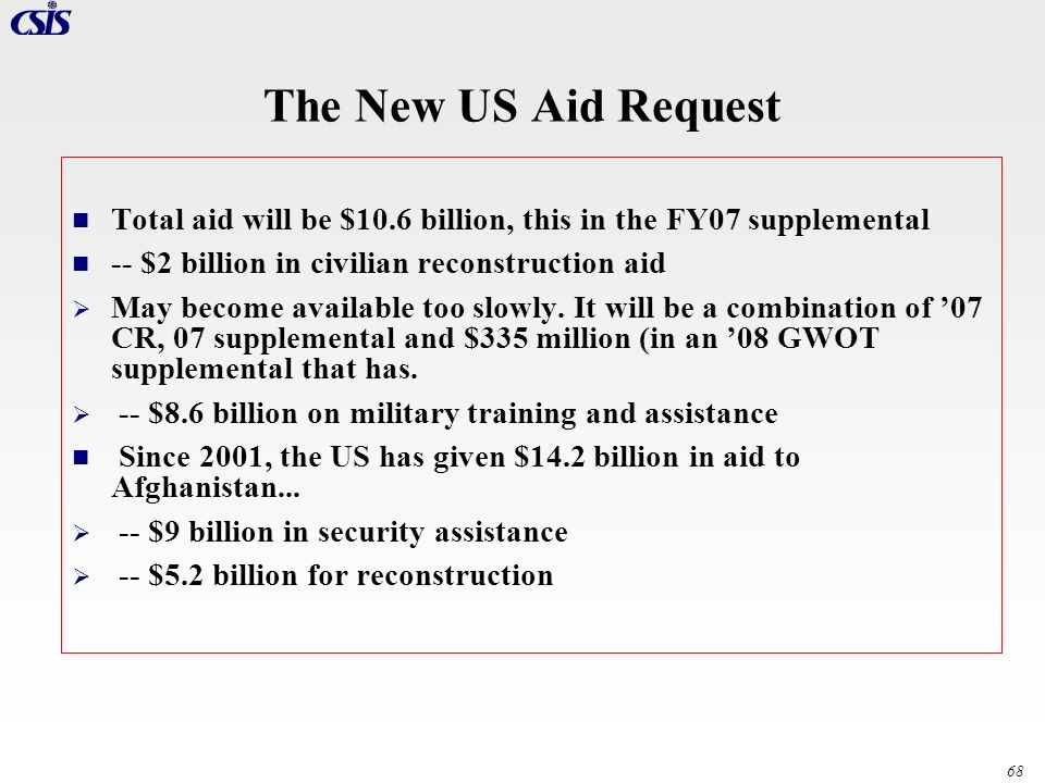 The New US Aid Request Total aid will be $10.6 billion, this in the FY07 supplemental. -- $2 billion in civilian reconstruction aid.