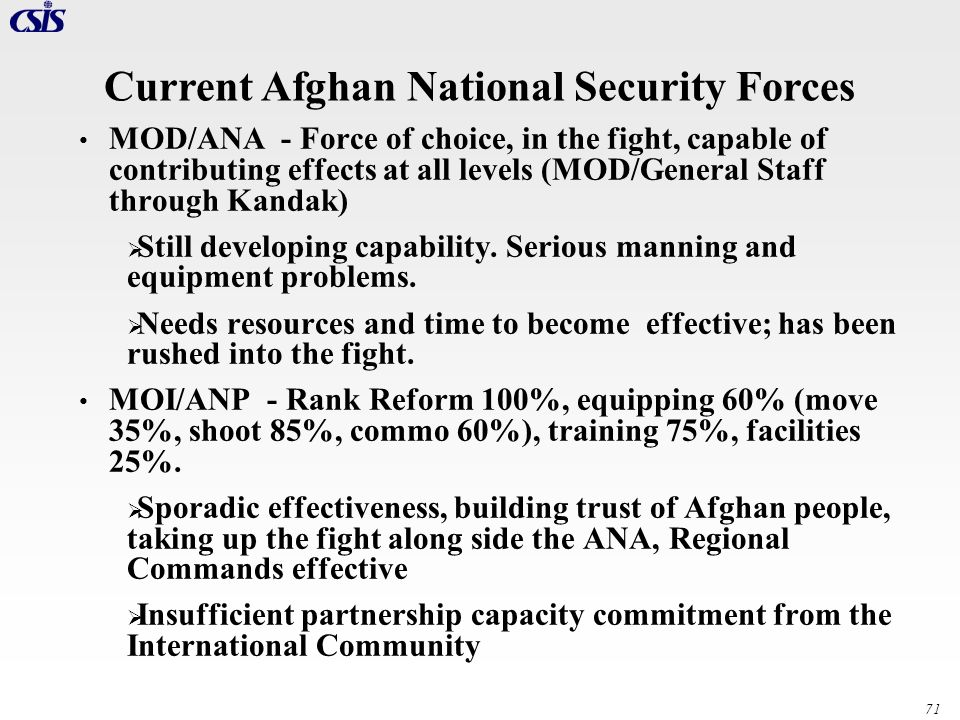 Current Afghan National Security Forces