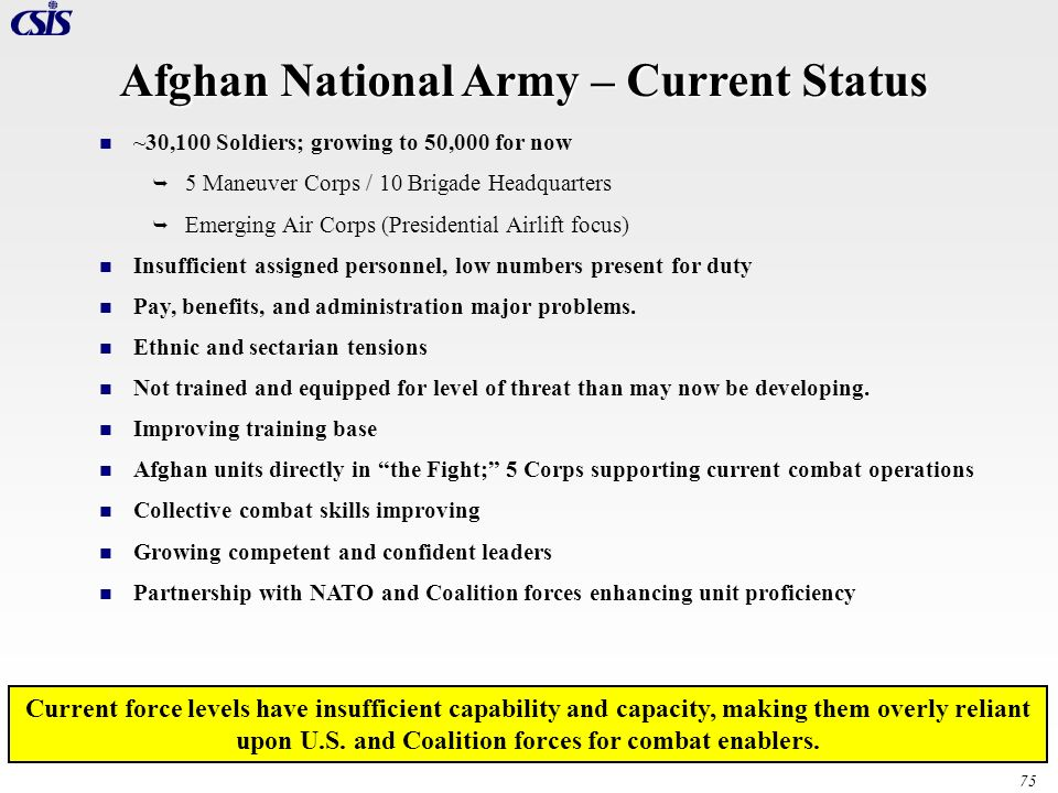 Afghan National Army – Current Status