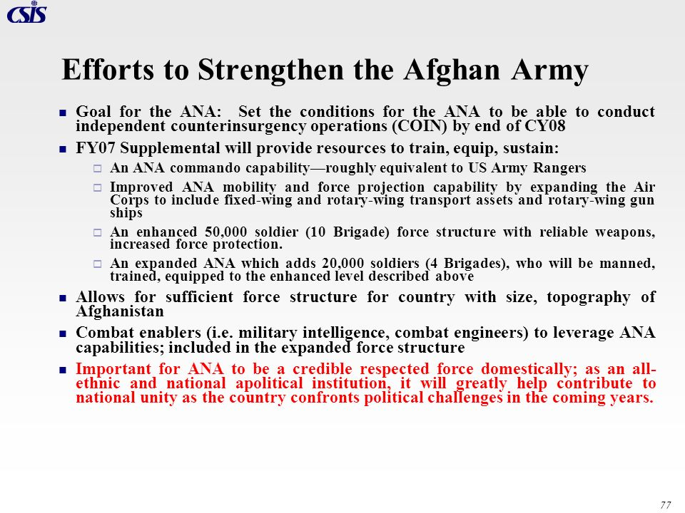 Efforts to Strengthen the Afghan Army