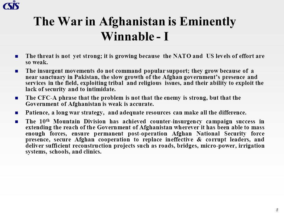 The War in Afghanistan is Eminently Winnable - I
