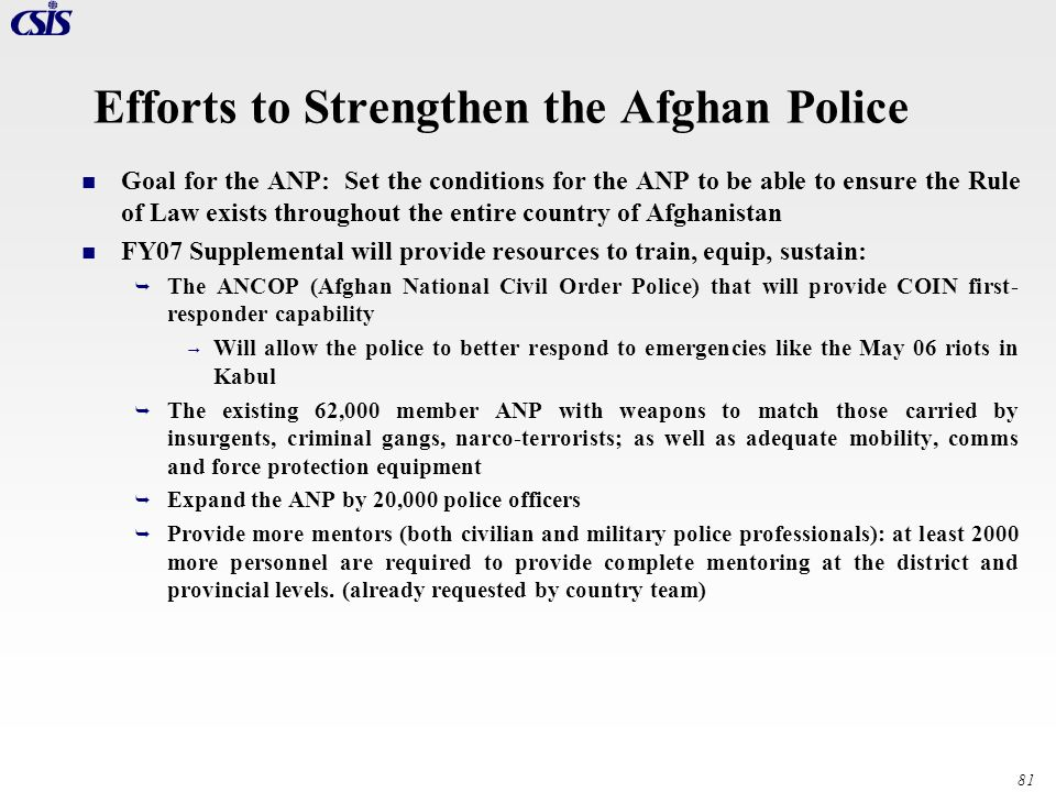 Efforts to Strengthen the Afghan Police