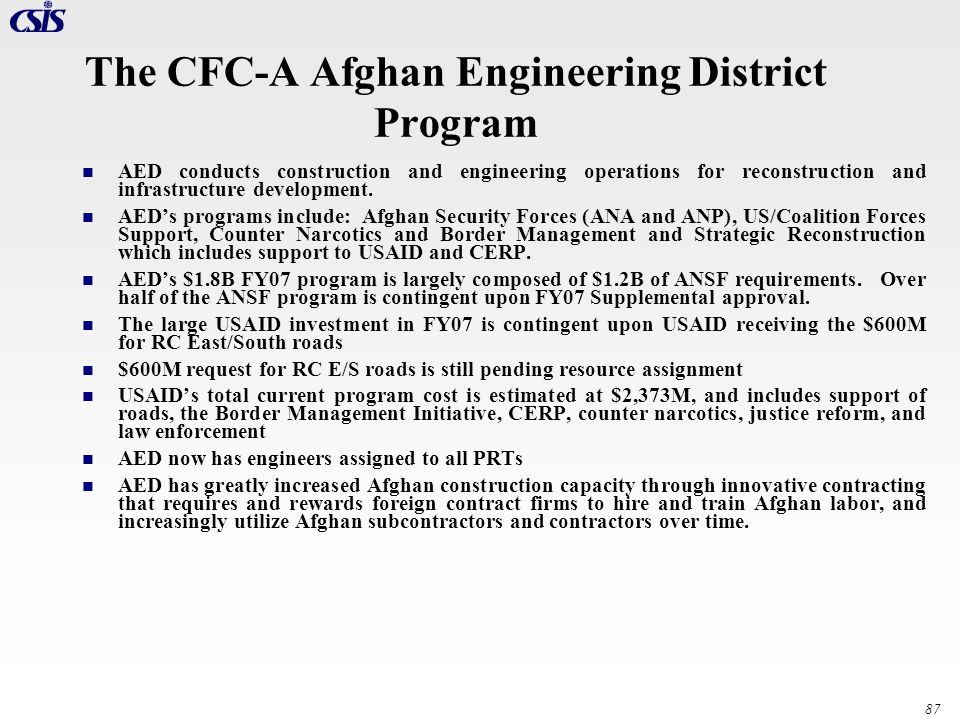 The CFC-A Afghan Engineering District Program
