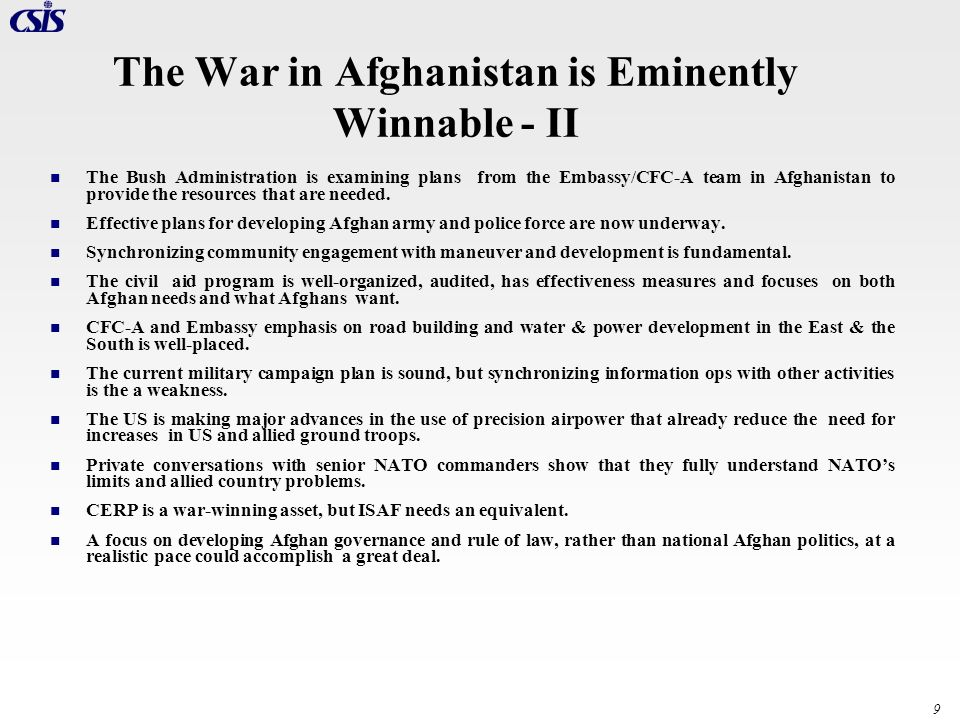 The War in Afghanistan is Eminently Winnable - II