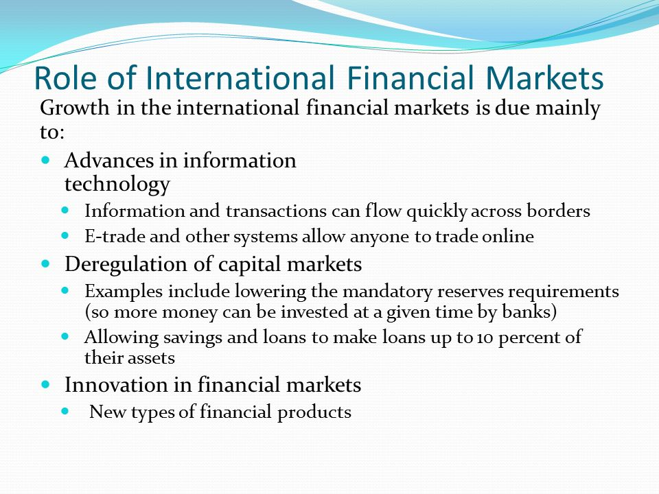 international finance and capital markets finance Hierarchical tendencies of capital markets among international financial centers jessie ph poon abstract the dramatic evolution of global finance in the last three decades has seen inten- sified competition among the world's major cities to become prominent control centers of global financial flows this paper.