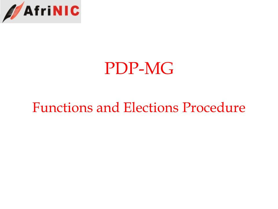 PDP-MG Functions and Elections Procedure