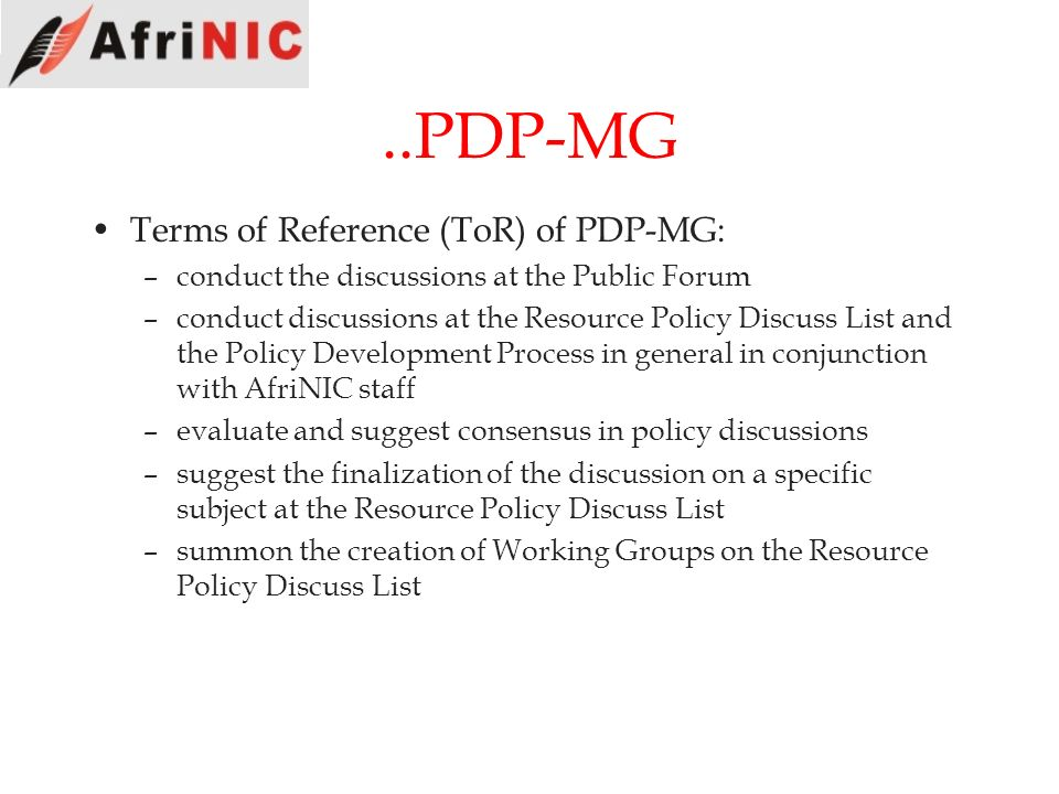 ..PDP-MG Terms of Reference (ToR) of PDP-MG: