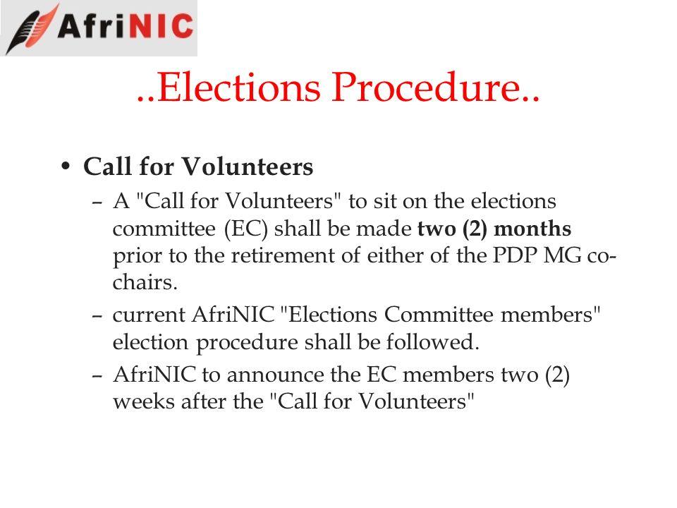 ..Elections Procedure.. Call for Volunteers