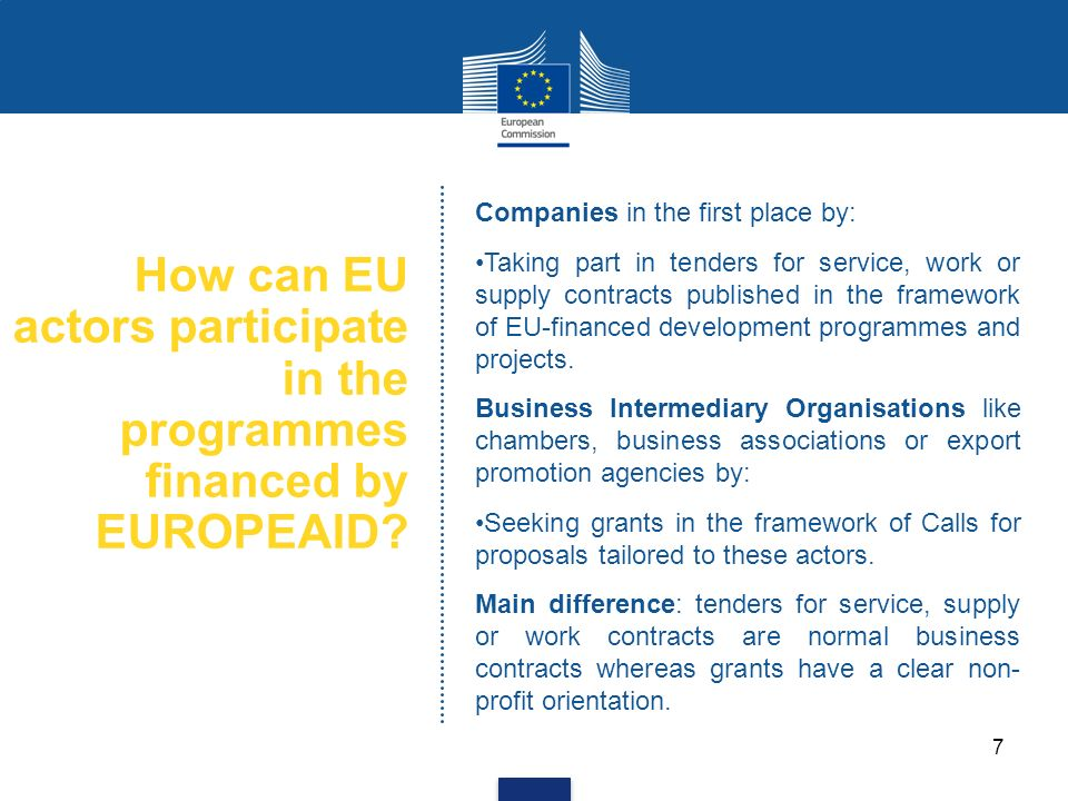 How can EU actors participate in the programmes financed by EUROPEAID