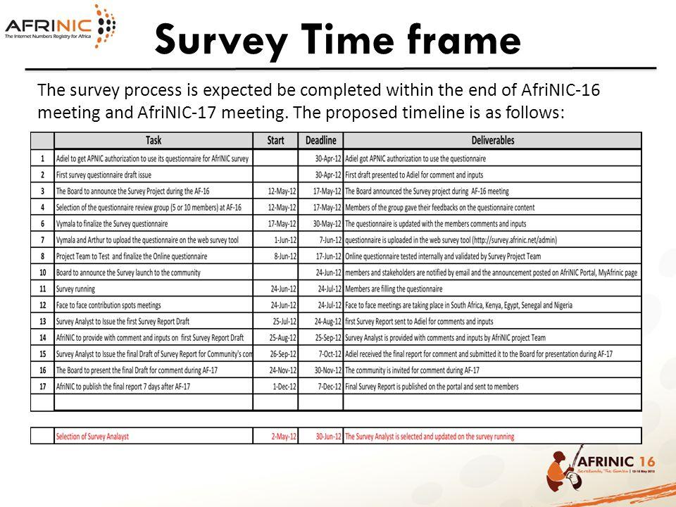 Survey Time frame