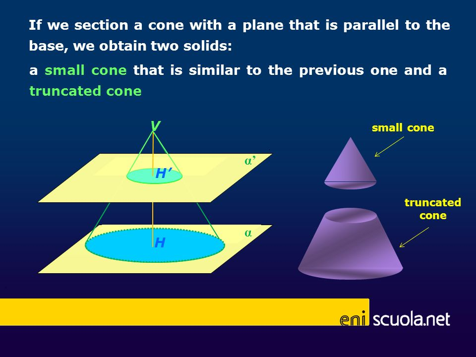 a small cone that is similar to the previous one and a truncated cone