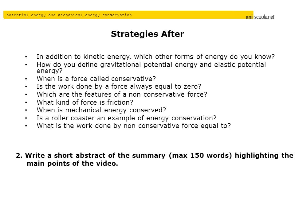 Strategies After In addition to kinetic energy, which other forms of energy do you know