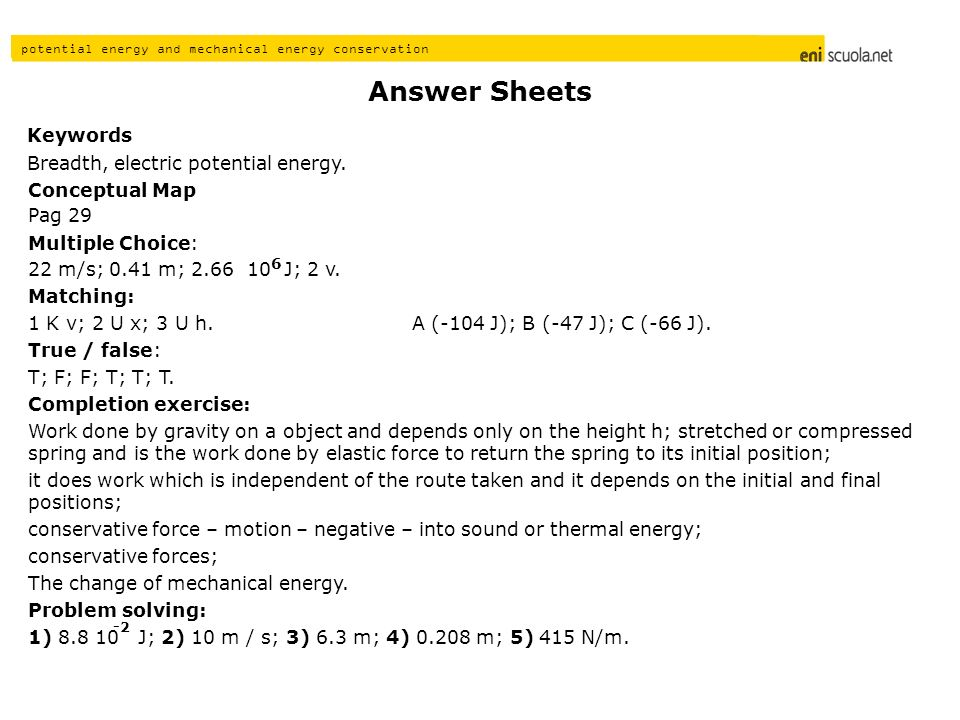 Answer Sheets Keywords Breadth, electric potential energy.