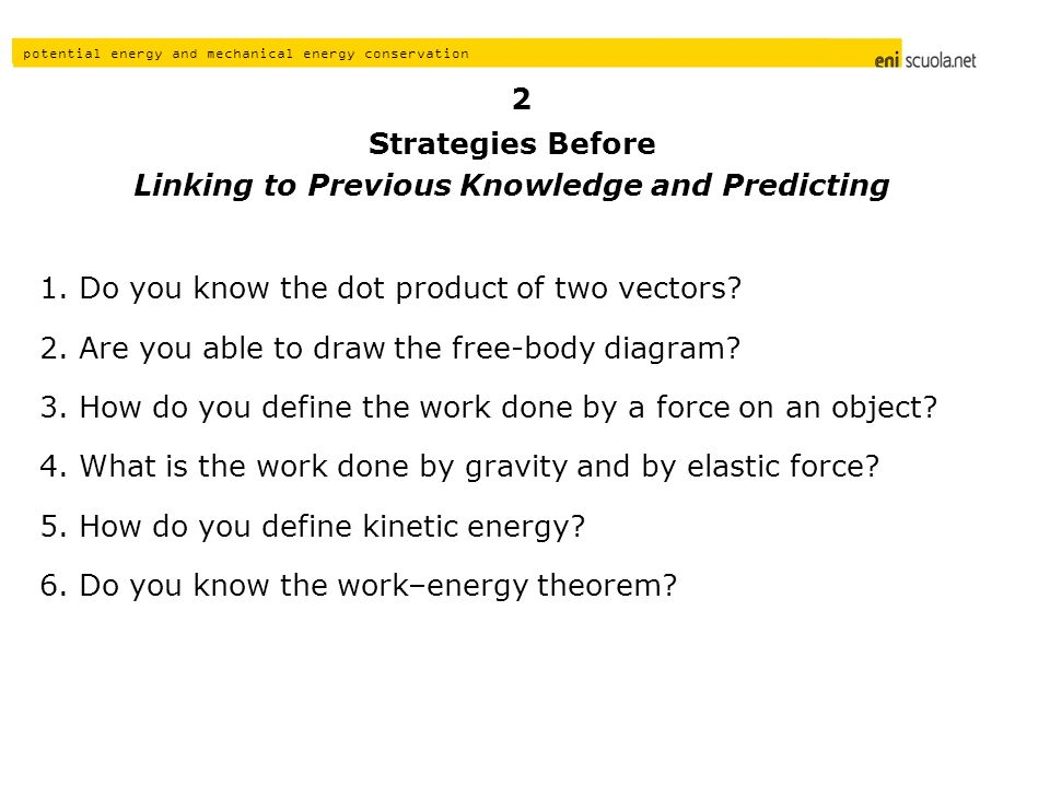 Linking to Previous Knowledge and Predicting