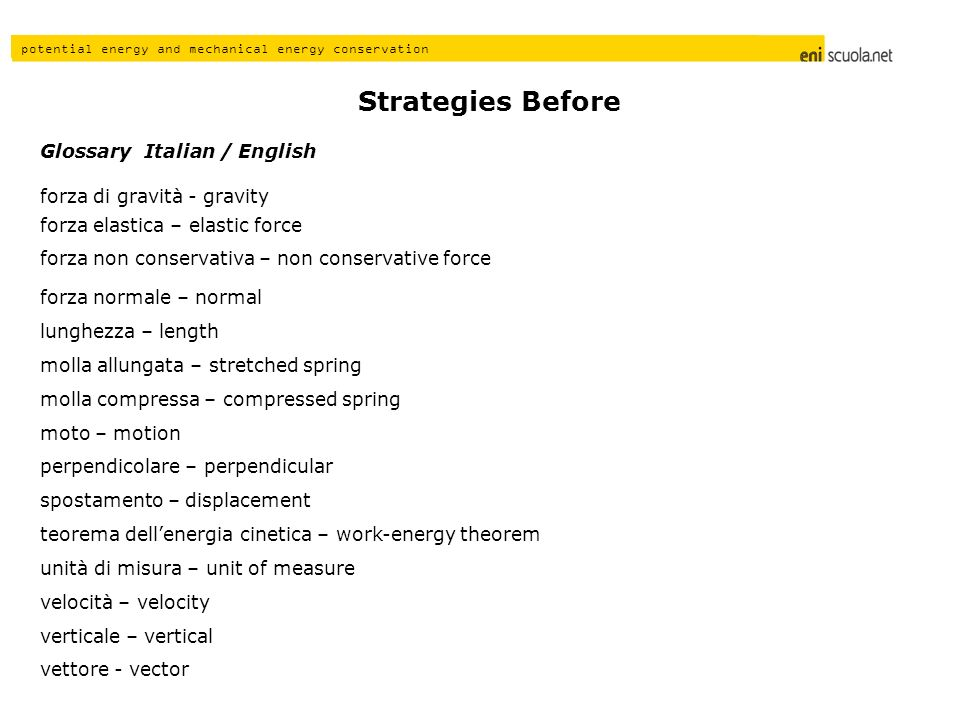 Strategies Before Glossary Italian / English