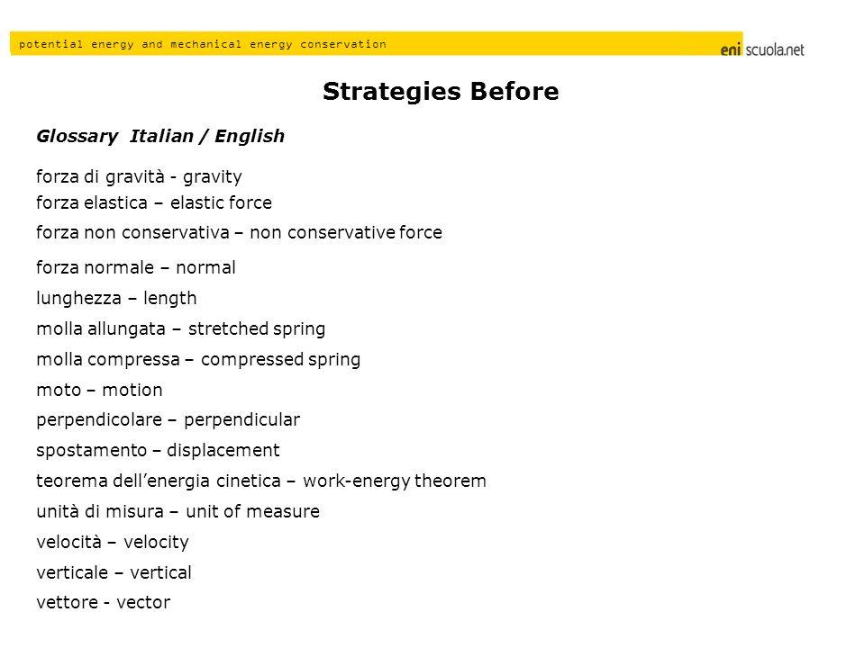 Strategies Before Glossary Italian / English