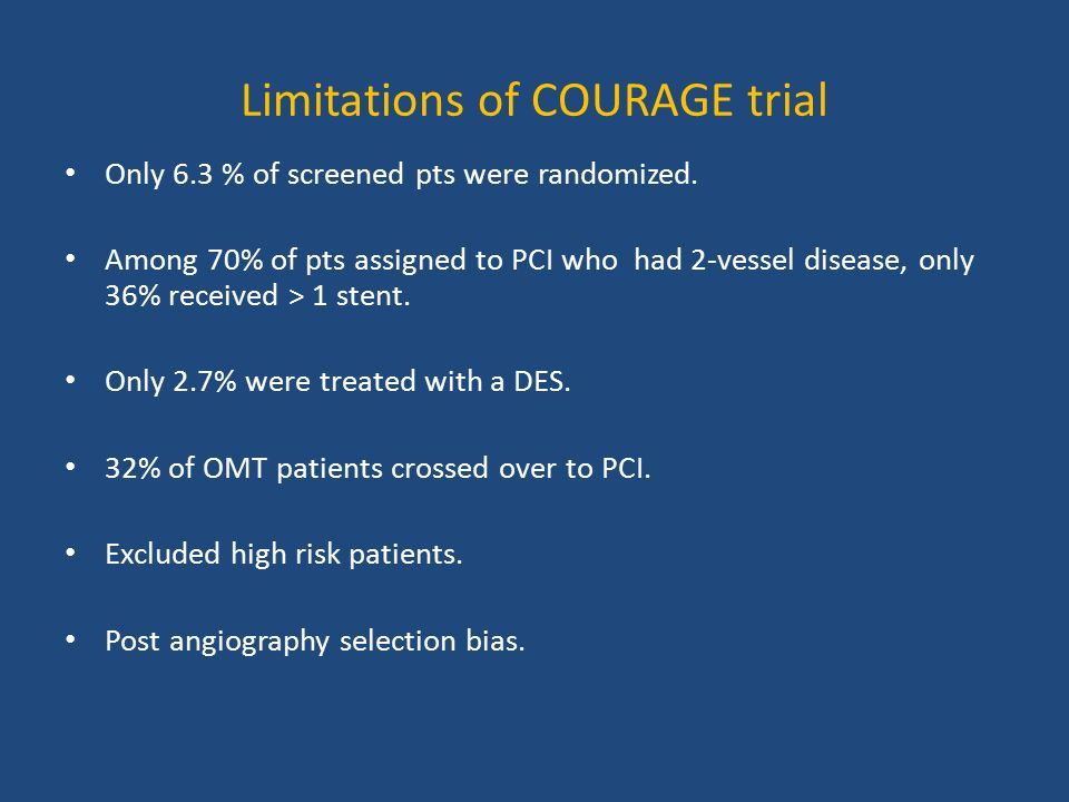 Limitations of COURAGE trial