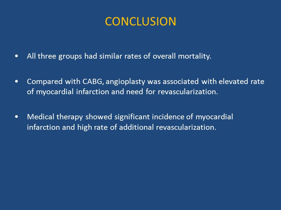 CONCLUSION All three groups had similar rates of overall mortality.