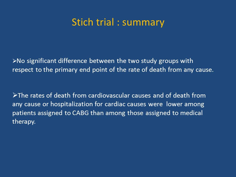 Stich trial : summary