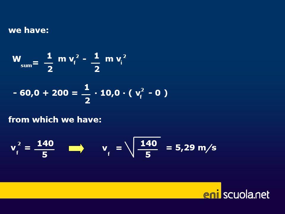 we have: 1 1 W m v - m v = 2 2 1 - 60,0 + 200 = ∙ 10,0 ∙ ( v - 0 ) 2