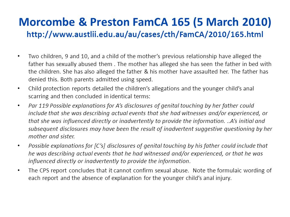 Morcombe & Preston FamCA 165 (5 March 2010) http://www. austlii. edu