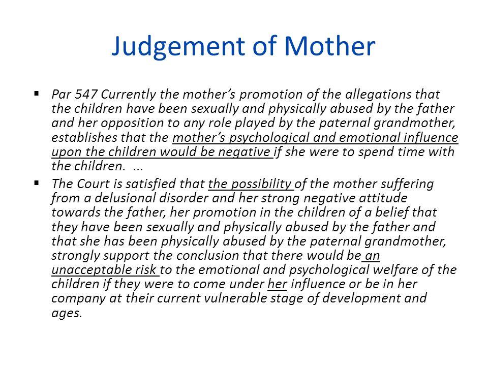 Judgement of Mother