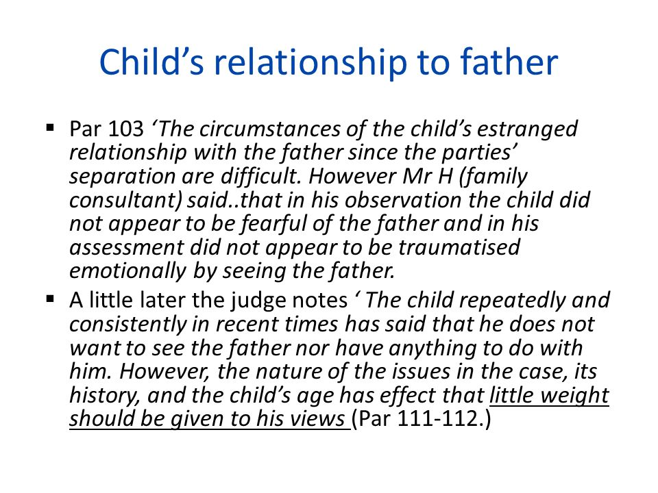 Child's relationship to father