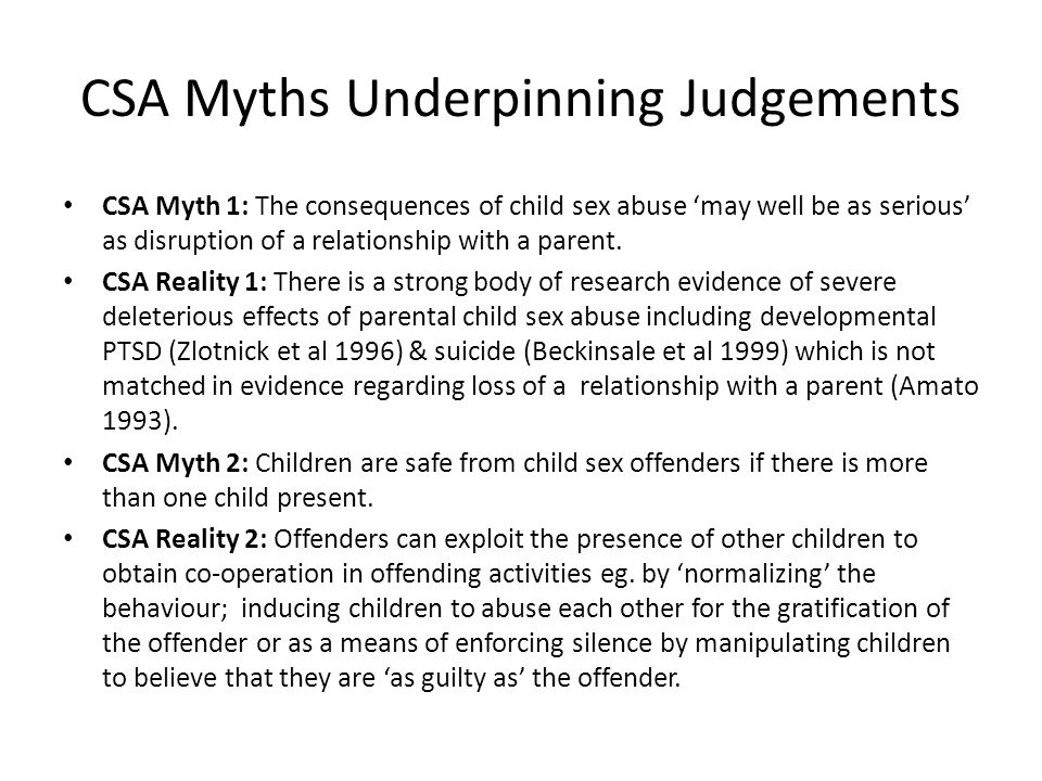 CSA Myths Underpinning Judgements