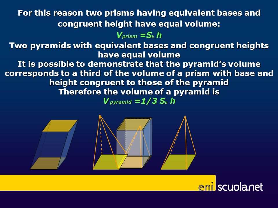 Therefore the volume of a pyramid is
