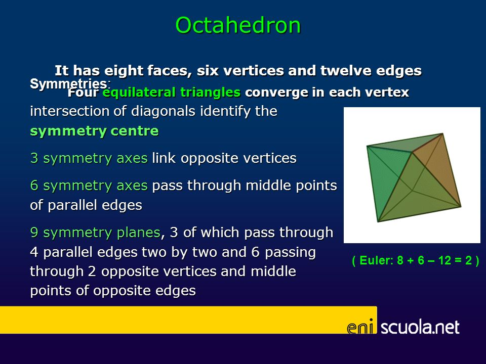 Octahedron It has eight faces, six vertices and twelve edges