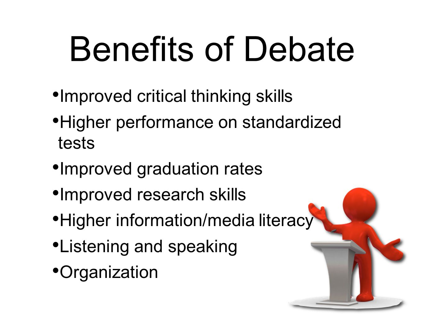 critical thinking and debate The case for debate: intrinsic motivation for critical thinking and writing jon kendall from the oration that convinced the athenians to spare.