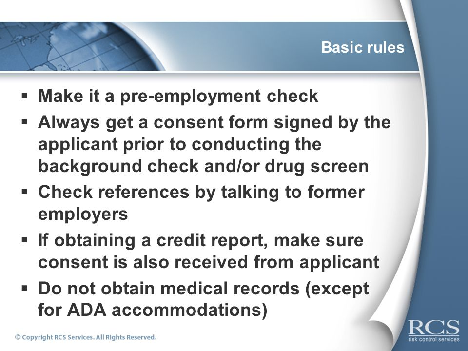 how to get around a background check for employment