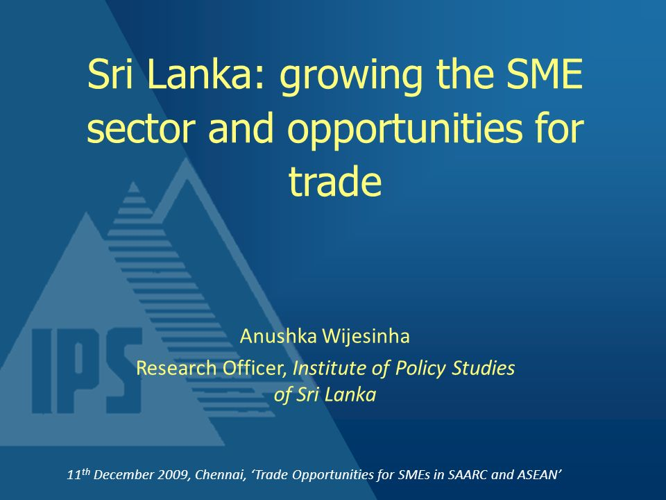 Sri Lanka: growing the SME sector and opportunities for trade