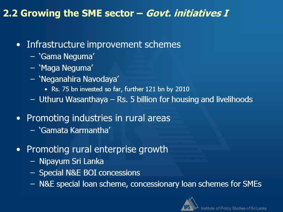 2.2 Growing the SME sector – Govt. initiatives I