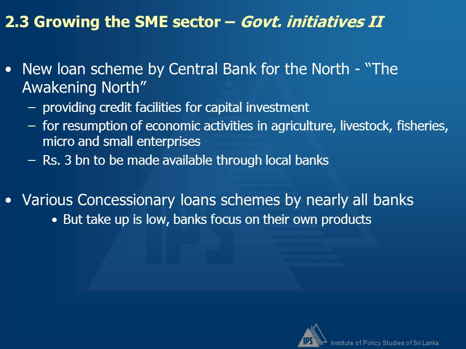 2.3 Growing the SME sector – Govt. initiatives II