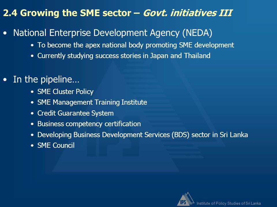 2.4 Growing the SME sector – Govt. initiatives III