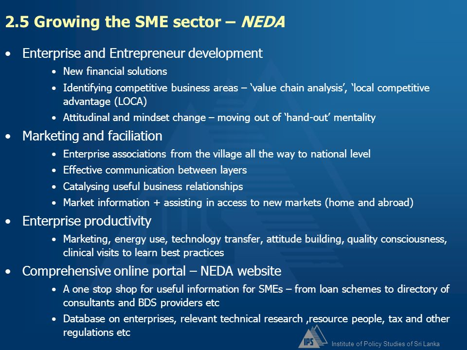 2.5 Growing the SME sector – NEDA