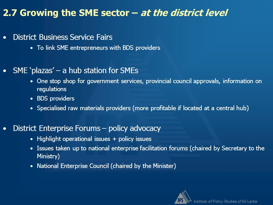 2.7 Growing the SME sector – at the district level
