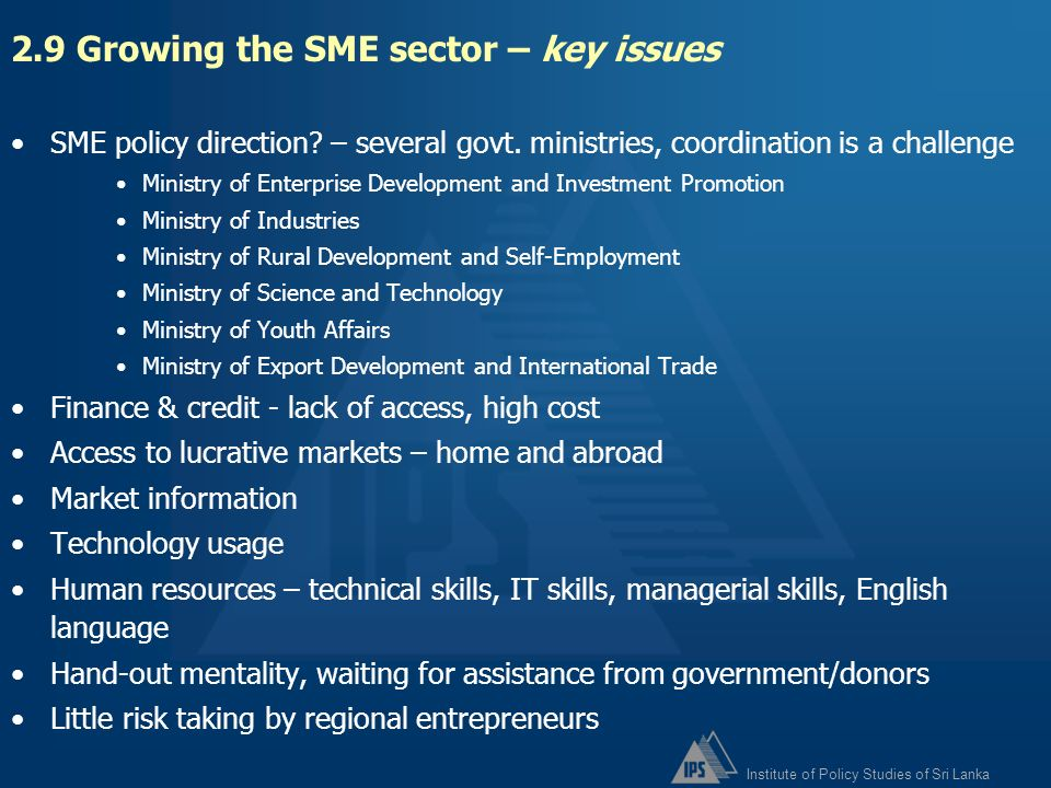 2.9 Growing the SME sector – key issues