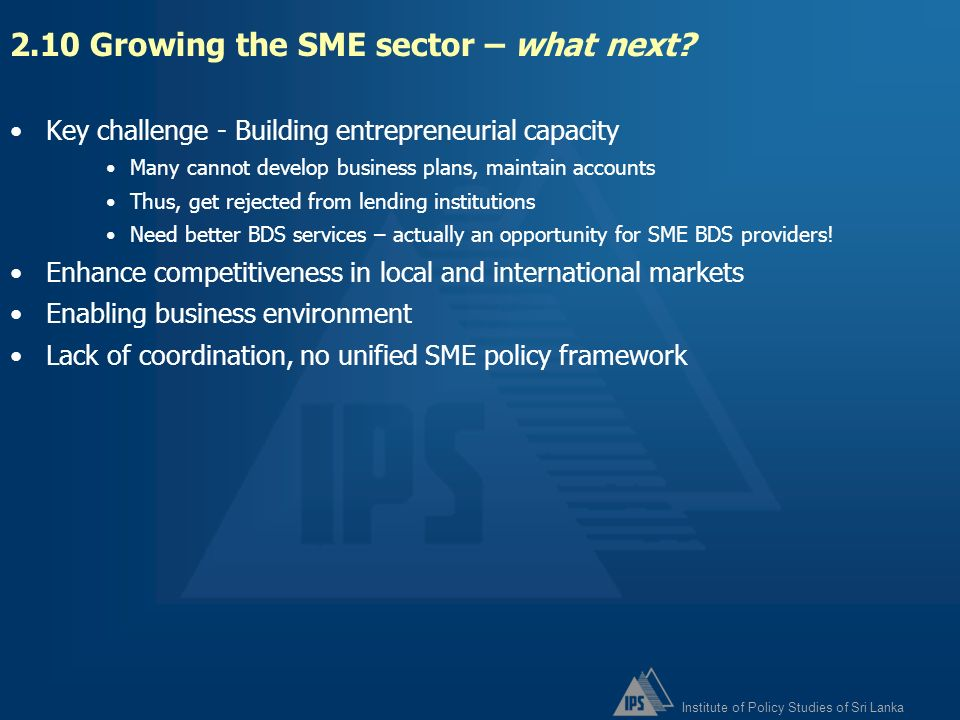 2.10 Growing the SME sector – what next