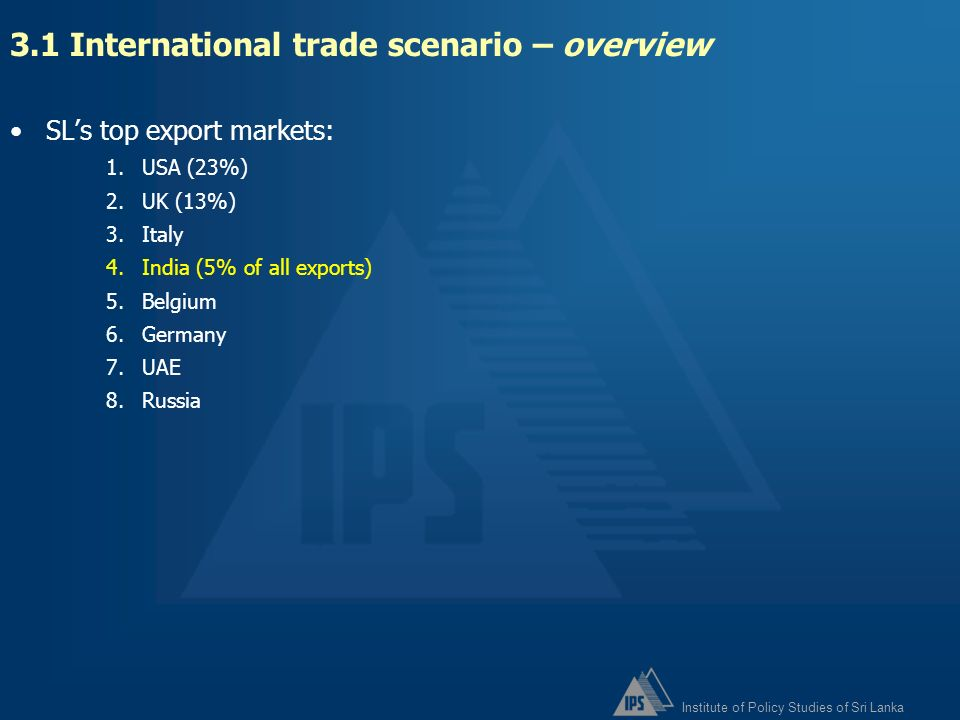 3.1 International trade scenario – overview