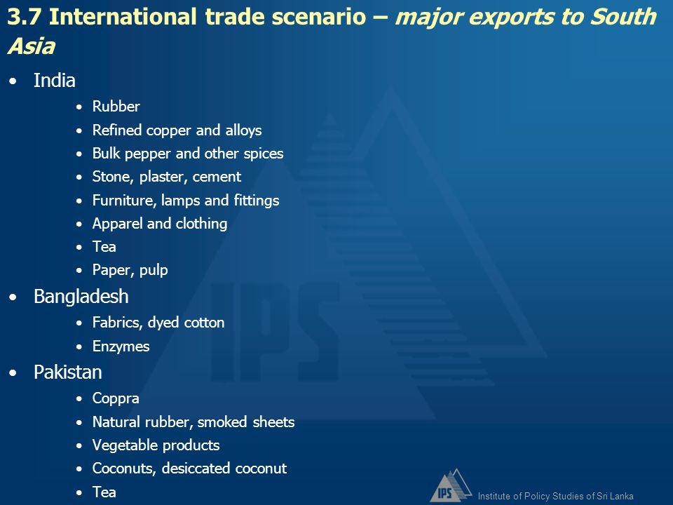 3.7 International trade scenario – major exports to South Asia