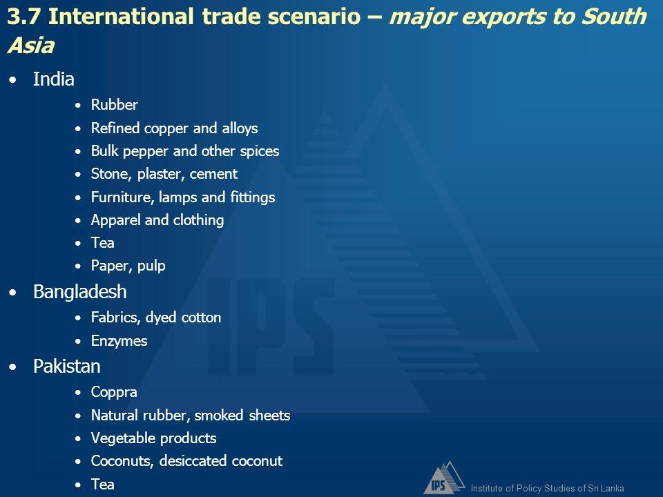 3.7 International trade scenario – major exports to South Asia